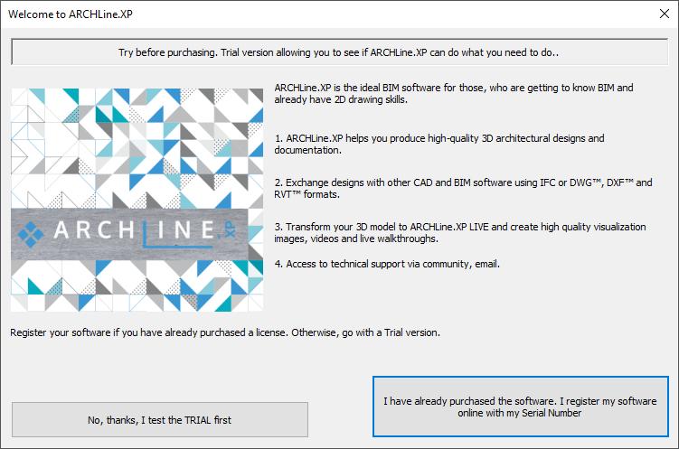 ARCHLine.XP Welcome Window